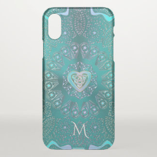 Monogramm-keltische Herz-Mandala im Aqua-blauen iPhone X Hülle