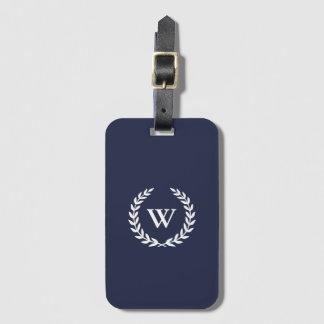 Monogramm-klassischer eleganter blauer kofferanhänger