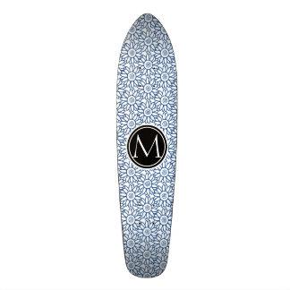Monogramm-klassisches blaues Sonnenblume-Muster 20,6 Cm Skateboard Deck