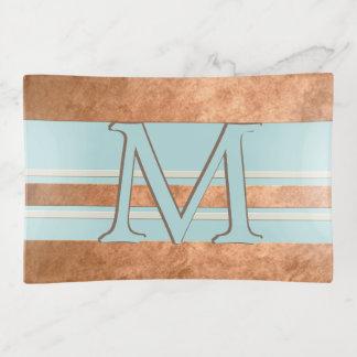 Monogramm-Kupfer-gestreiftes Rotkehlchen-Ei-blauer Dekoschale