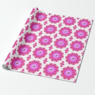 Monogramm L rosa Herz-Mandala-Packpapier Geschenkpapier