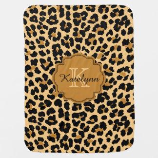 Monogramm-Leopard-Druck-kundenspezifische Babydecke