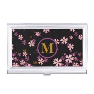 Monogramm-Licht und dunkle Lavendel-Blumen auf Visitenkarten Dose
