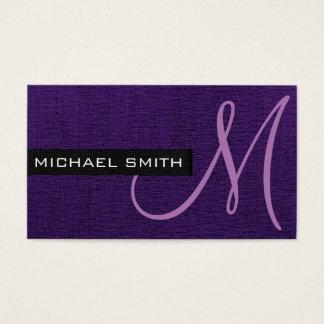 Monogramm-lila elegante Leinwand Visitenkarte