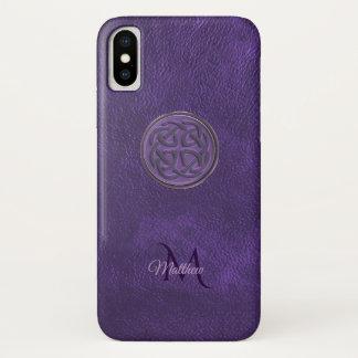 Monogramm-lila lederner keltischer Knoten iPhone X