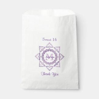 Monogramm-lila Rahmen-extravagante Spitze-Girly Geschenktütchen