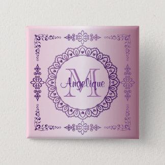 Monogramm-lila Rahmen-extravagante Spitze-Girly Quadratischer Button 5,1 Cm
