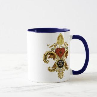 """Monogramm-Lilien-Art 1 des Buchstabe-""""M"""" doppelte Tasse"""
