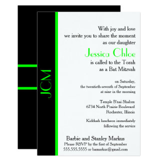Monogramm-Limoner grüner schwarzer Schläger Karte