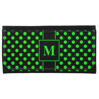 Monogramm-Limones Grün auf schwarzem Polka-Punkt