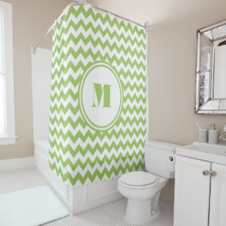 Monogramm-Limones grünes und weißes Zickzack Duschvorhang