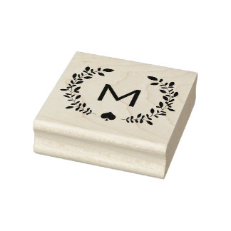 Monogramm-Lorbeer u. Spaten Gummistempel