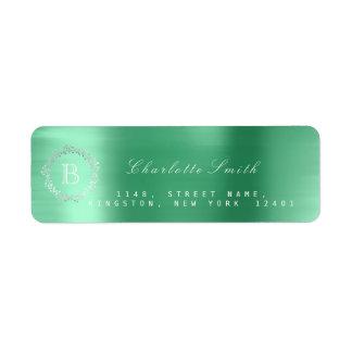 Monogramm-Lorbeerwreath-Silber-Smaragdgrün UAWG