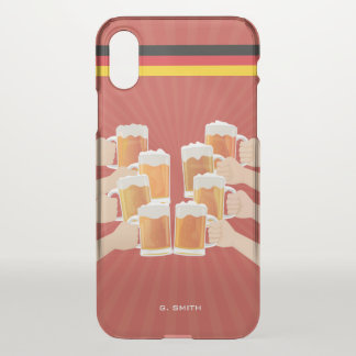 Monogramm. Lustig. Beifall für Bier! iPhone X Hülle