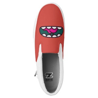 Monogramm. Lustiges großes Mund-Monster Slip-On Sneaker