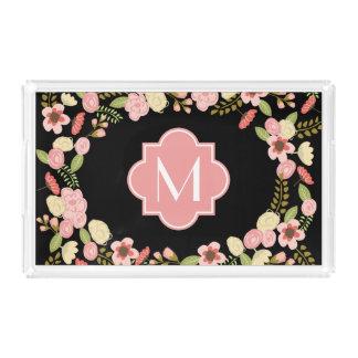 Monogramm mit Blumen Acryl Tablett
