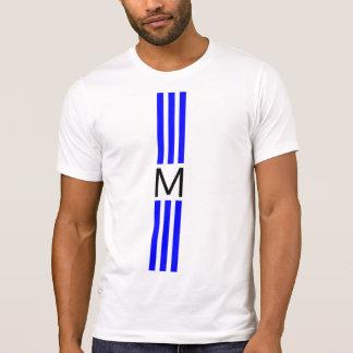 Monogramm-moderne blaue Streifen T-Shirt