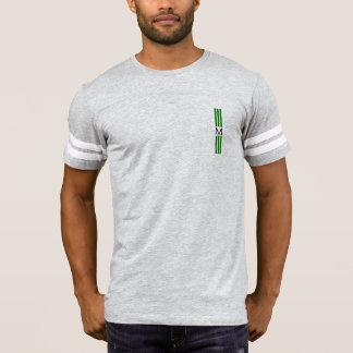 Monogramm-moderne grüne Streifen T-Shirt