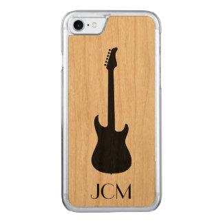 Monogramm-moderne schwarze E-Gitarre Carved iPhone 8/7 Hülle