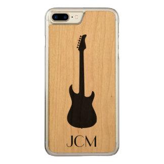 Monogramm-moderne schwarze E-Gitarre Carved iPhone 8 Plus/7 Plus Hülle