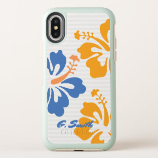 Monogramm. Moderne Tropica Hibiskus-Blumen OtterBox Symmetry iPhone X Hülle