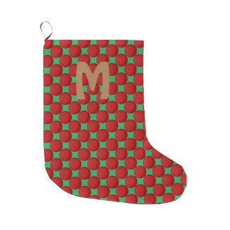 Monogramm-moderner stilvoller roter Tupfen Großer Weihnachtsstrumpf