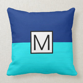 Monogramm-modernes cyan-blaues und dunkelblaues kissen