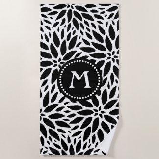 Monogramm-modernes schwarzes u. weißes strandtuch