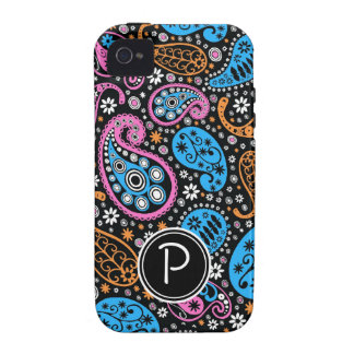 Monogramm MUTIGES Paisley für Mädchen iPhone 4 Hüllen