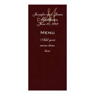Monogramm nennt Datums-Hochzeits-Menü-Karten Brown Bedruckte Werbekarte