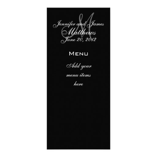 Monogramm nennt Datums-Hochzeits-Menü-Karten Vollfarbige Werbekarte