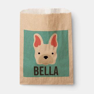 Monogramm. Niedliche französische Bulldogge Geschenktütchen