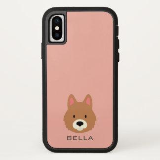 Monogramm. Niedlicher Welpen-Hund iPhone X Hülle