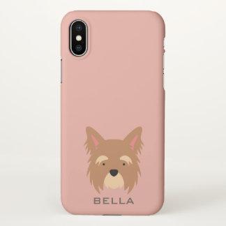 Monogramm. Niedlicher Yorkie Welpen-Hund iPhone X Hülle