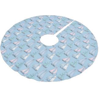 Monogramm-niedliches Segelboot-Muster Polyester Weihnachtsbaumdecke
