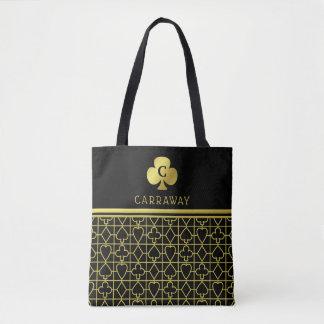 Monogramm-nobler schwarzer Goldkarten-Anzugs-Klee Tasche