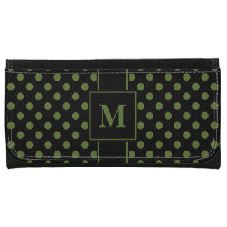 Monogramm-Olivgrün auf schwarzem Tupfen