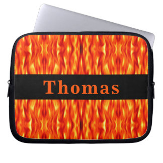 Monogramm-orange abstrakte Feuer-Laptop-Hülse Laptop Sleeve