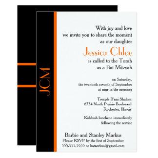 Monogramm-orange schwarzer Schläger Mitzvah Karte