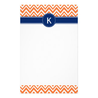 Monogramm-orange Zickzack-Muster Personalisierte Büropapiere