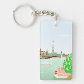 Monogramm-Paris-Eiffelturm-Frühling Keychain Schlüsselanhänger