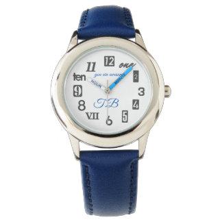 (Monogramm/personalisiertes) blaue/graue Uhr