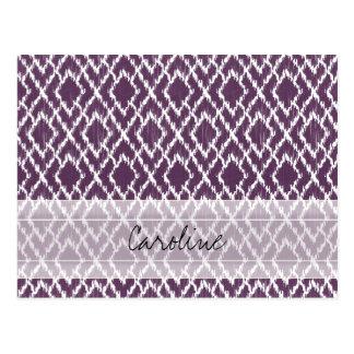 Monogramm-Pflaume lila Stammes- Ikat Postkarte