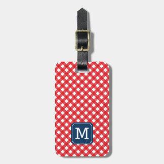 Monogramm-Picknick-roter Gingham und Blau Gepäckanhänger