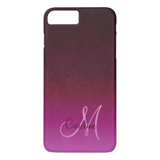 Monogramm Pink-Burgunders Ombre iPhone 7 Plus Hülle