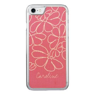 Monogramm-Pink wunderliches Ikat Blumenmuster Carved iPhone 8/7 Hülle