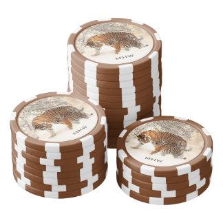 Monogramm-Pokerchips der Winter-Tiger Pokerchips