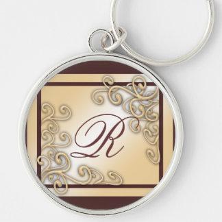 """Monogramm """"R"""" erstklassiges rundes großes Keychain Silberfarbener Runder Schlüsselanhänger"""