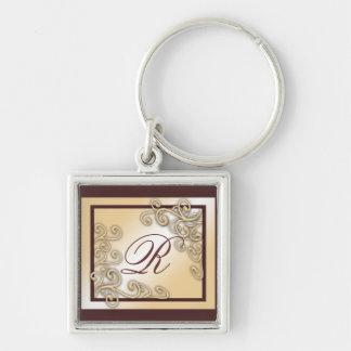 """Monogramm """"R"""" Keychain Silberfarbener Quadratischer Schlüsselanhänger"""