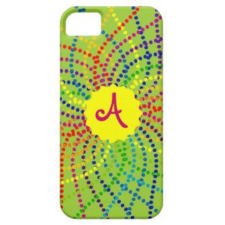 Monogramm-Regenbogen-Polka-Punkt-Blume iPhone Fall Hülle Fürs iPhone 5